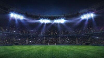 Fototapeta grand football stadium illuminated by spotlights and empty green grass playground, football stadium sport theme digital 3D background advertisement illustration my own design