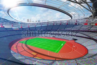 Fototapeta Grand multisport arena sunny day background 3d render
