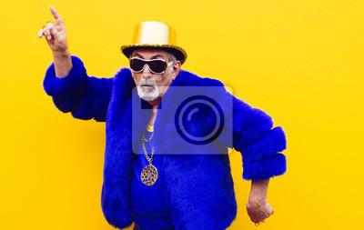 Fototapeta Grandfather portraits on colored backgrounds