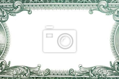 Fototapeta Granica dolara amerykańskiego z pustym środkowym obszarem