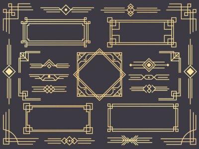 Fototapeta Granica linii art deco. Nowożytne arabskie złociste ramy, dekoracyjne linie granicy i geometryczni złoci etykietki ramy wektorowi projektów elementy