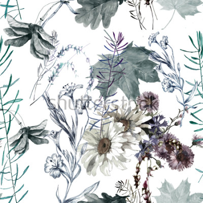 Fototapeta grass flowers and leaves watercolor seamless pattern for fabrics, paper, wallpaper