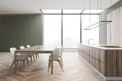 Fototapeta Gray and wood modern kitchen, side view