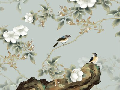 Fototapeta Gray background, rock, thin branches with white flowers, two sitting birds