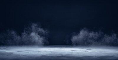 Fototapeta Gray textured concrete platform, podium or table with smoke in the dark