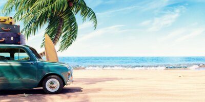 Fototapeta Green car with luggage ready for summer holidays 3D Rendering