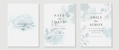Fototapeta Green emerald and gold texture watercolor wedding invitation vector set. Luxury background and template layout design for invite card, luxury invitation card and cover template.