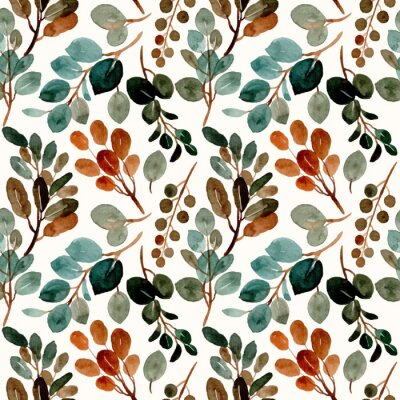 Fototapeta Green leaves seamless pattern with watercolor