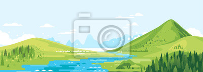 Fototapeta Green mountains in sunny day with river in valley and spruce forest in simple geometric form, nature tourism landscape background, travel mountains adventure illustration