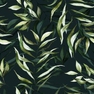 Fototapeta Green tropical leaves on dark background. Watercolor hand painted seamless pattern. Floral tropic illustration. Jungle foliage.