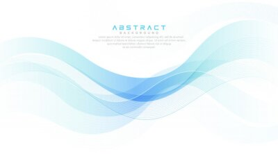 Fototapeta Green turquoise and bright blue gradient abstract wave lines banner on white background. Modern simple flowing wave creative design. Suit for cover, poster, website, brochure, banner, presentation