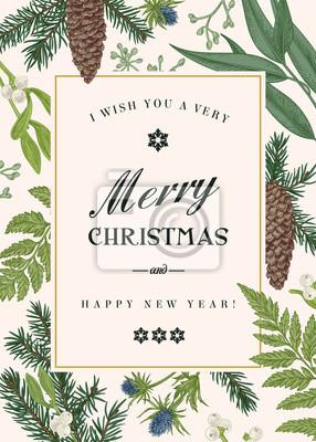Greeting Card Boże Narodzenie w stylu vintage.