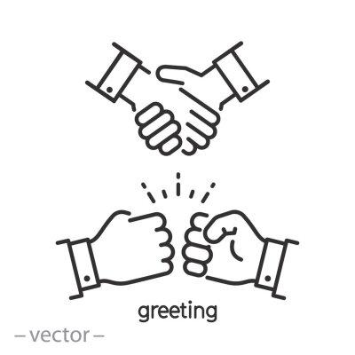 Fototapeta greeting fist instead handshake, icon, hello, bumps punch, hail salute,  thin line symbol on white background - editable stroke vector illustration eps10