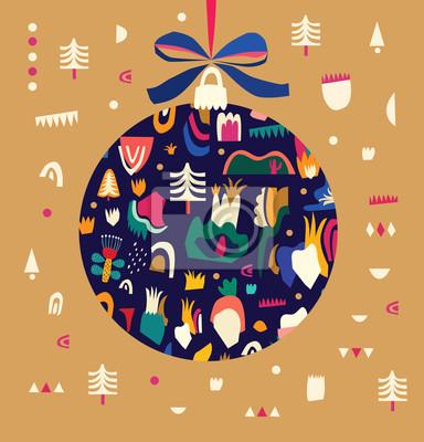 Fototapeta Greeting vector illustration with Christmas ball