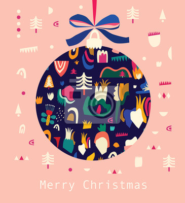 Fototapeta Greeting vector illustration with Christmas ball with pink background