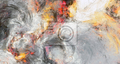 Grey color artistic splashes. Abstract painting texture. Modern watercolor pattern. Wide background. Fractal artwork for creative graphic design