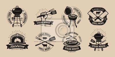 Fototapeta Grill, grill, logo grill lub ikony. Etykiety do menu restauracji lub kawiarni. Ilustracji wektorowych