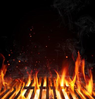 Fototapeta Grill tło - pusty opalany grill na czarny