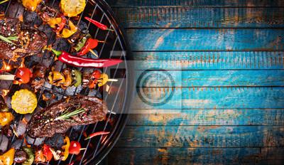Fototapeta Grill z grillem, zbliżenie.