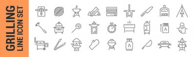 Fototapeta Grilling vector isolated line icon set. BBQ barbecue grill