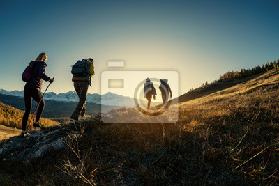 Fototapeta Group of hikers walks in mountains at sunset