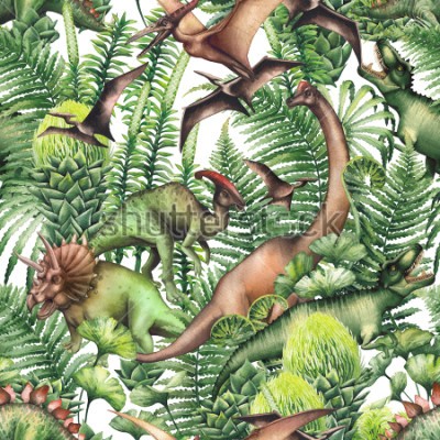 Fototapeta Group of realistic watercolor dinosaurs surrounded by lush prehistoric plants. Animals of Jurassic period. Hand painted seamless pattern