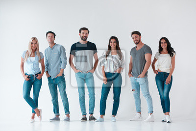 Fototapeta Group of young people on white background