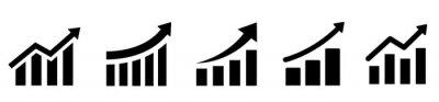 Fototapeta Growing graph set. Business chart with arrow. Growths chart collection. Profit growing sumbol. Progress bar. Bar diagram. Growth success arrow icon. Progress symbol. Chart increase - stock vector.