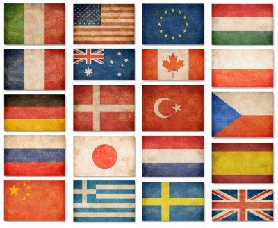 Fototapeta Grunge flags: USA, Wielka Brytania, Włochy, Francja, Dania, German