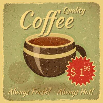 Fototapeta Grunge karty z kubkiem kawy