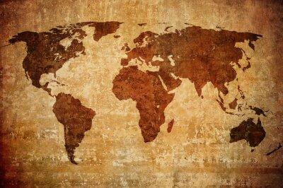 Fototapeta grunge mapy świata.