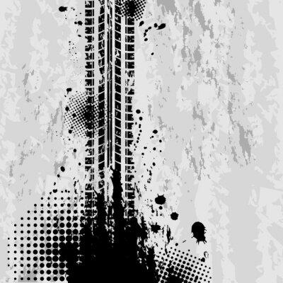Fototapeta Grunge opon śledzi tło
