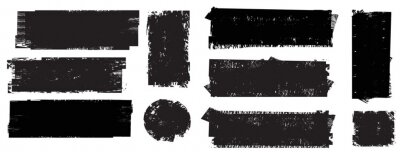 Fototapeta Grunge Paint Roller . Vector brush Stroke . Distressed banner . Black stripes isolated. paintbrush collection . Modern Textured shape . Dry border in Black . Bulge lines