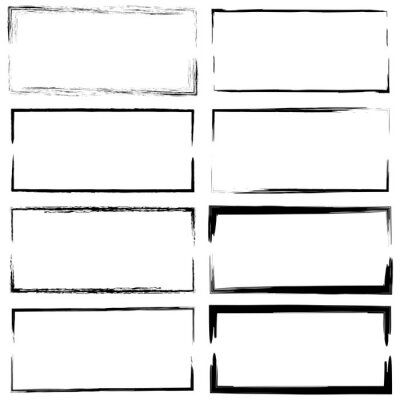 Fototapeta Grunge rectangles. Distressed overlay texture. Hand drawn abstract vector set. Black outline. Stock image. EPS 10.