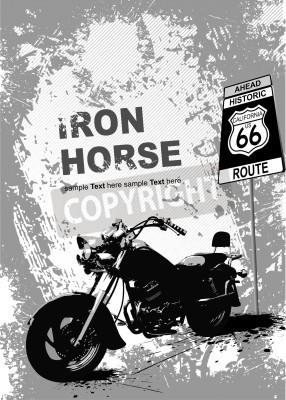 Fototapeta Grunge szarym tle z wizerunkiem motocykla