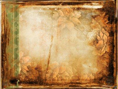 Fototapeta grunge tła z kwiatu ozdoby