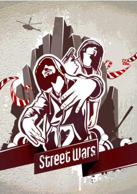 Fototapeta Grungy plakat z dwóch gangsterów