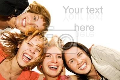 Fototapeta Grupa szczęśliwych przyjaciół co śmieszne twarze
