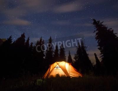 Fototapeta gwiazdy nad górach z namiotu podkreślone przez lampy i drzewa w tle