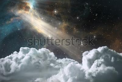 Fototapeta Gwiaździsty nocne niebo przestrzeni tło z mgławicą i chmurami, 3D ilustracja