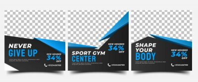 Fototapeta Gym, fitness, and sports social media post template design. Set of Modern square banner design with abstract blue shape. Usable for social media, banner, and website.