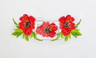 Rewelacyjny Fototapeta haftowane wzory haftu krzyżykowego kwiaty na płótnie na VA28