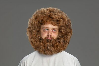 Fototapeta Half-length portrait of young very hairy man isolated over grey background.