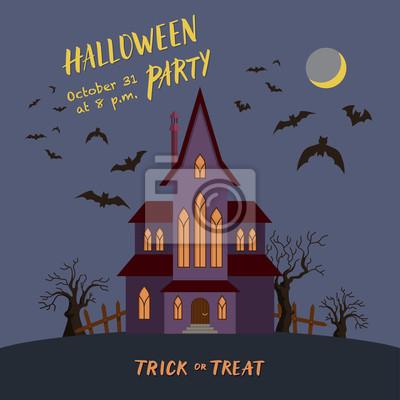 Fototapeta Halloween Party Zaproszenie Plakat Z Przerażającym Domu