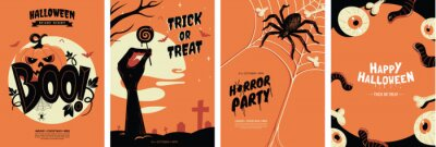 Fototapeta Halloween posters collection with different scary illustrations in orange and black colours. Creepy halloween greeting card design in a4 size. Ideal for party invitation, event, social media, banner.