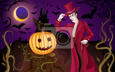 Halloween tła z wampirem i dyni