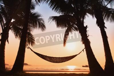 Fototapeta hamak i palmy na plaży