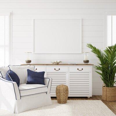 Fototapeta Hampton style living room interior with frame mockup, 3d render