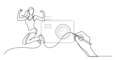 Fototapeta hand drawing business concept sketch of happy healthy woman