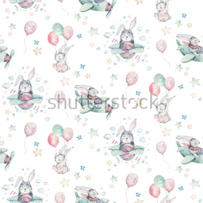 Fototapeta Hand drawing fly cute easter pilot bunny watercolor cartoon bunnies with airplane and balloon in the sky textile pattern. Turquoise watercolour textile illustration